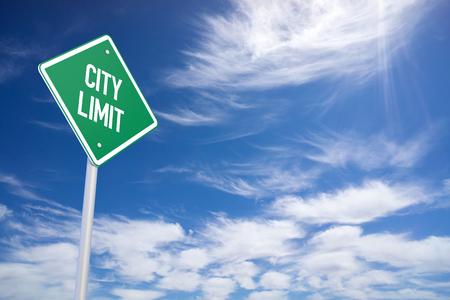 limit: Green City Limit Road Sign Close Up