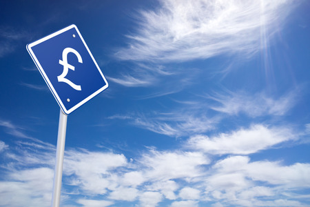 Currency concept: Pound on blue road sign, clear blue sky background, 3d rendering