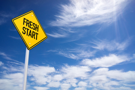 reformation: Fresh Start Yellow Road Sign with Blue Sky Background Stock Photo