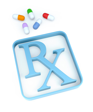 rx: Capsules and Rx symbol on white background. 3d Rendering
