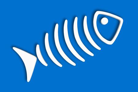 skeleton fish: Fish skeleton style 3d illustration. Isolated Blue Background.