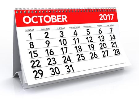 calendar isolated: October 2017 Calendar. Isolated on White Background. 3D Illustration Stock Photo