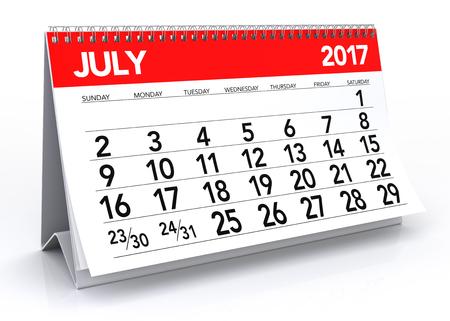 calendar isolated: July 2017 Calendar. Isolated on White Background. 3D Illustration Stock Photo
