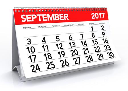 calendar isolated: September 2017 Calendar. Isolated on White Background. 3D Illustration