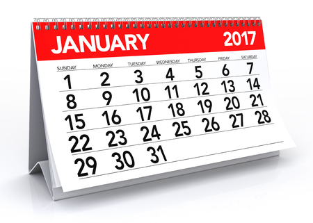 January 2017 Calendar. Isolated on White Background. 3D Illustration Stock Illustration - 62068434