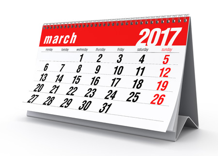 calendar isolated: March 2017 Calendar. Isolated on White Background. 3D Illustration Stock Photo