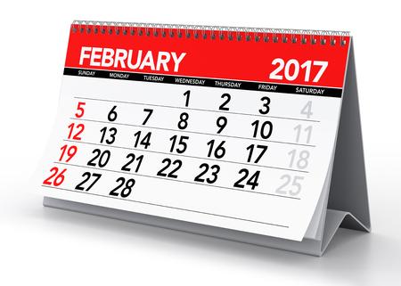 calendar isolated: February 2017 Calendar. Isolated on White Background. 3D Illustration Stock Photo