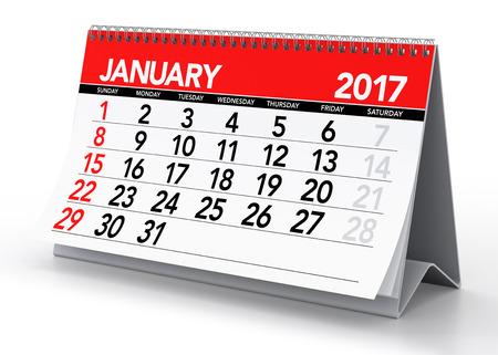 Januari 2017 Calendar. Geïsoleerd op een witte achtergrond. 3D illustratie Stockfoto