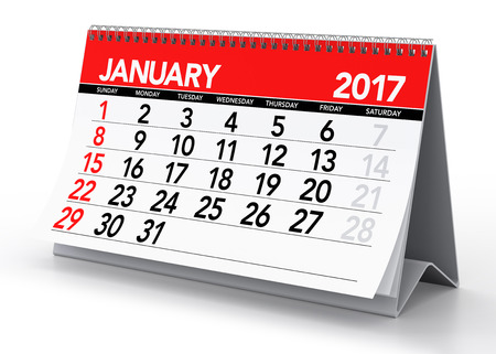 January 2017 Calendar. Isolated on White Background. 3D Illustration