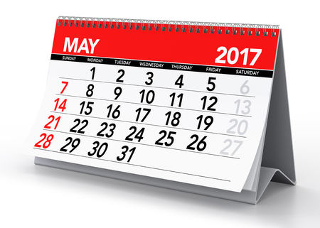 May 2017 Calendar. Isolated on White Background. 3D Illustration