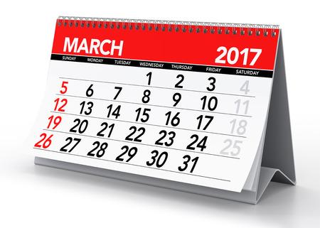 March 2017 Calendar. Isolated on White Background. 3D Illustration 免版税图像