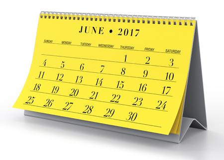 calendar isolated: June 2017 Calendar. Isolated on White Background. 3D Illustration