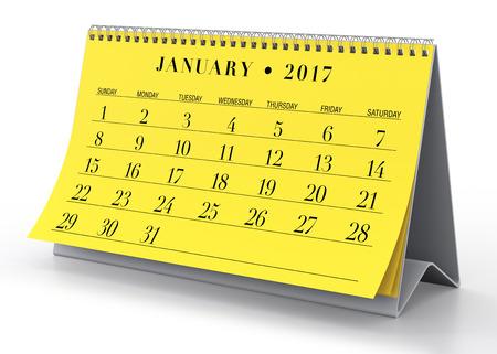 calendar isolated: January 2017 Calendar. Isolated on White Background. 3D Illustration