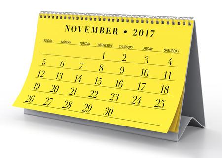 calendar isolated: November 2017 Calendar. Isolated on White Background. 3D Illustration Stock Photo