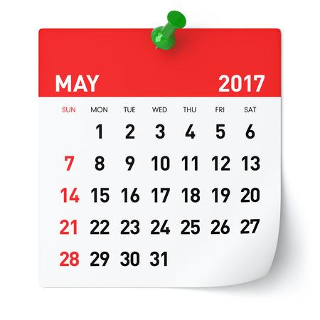 2017 mei - Agenda. Geïsoleerd op een witte achtergrond. 3D illustratie