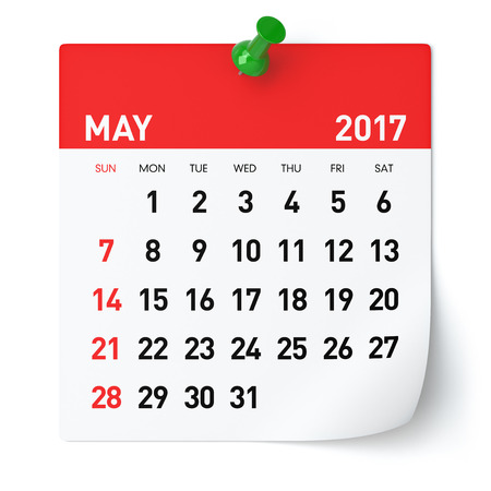 may: May 2017 - Calendar. Isolated on White Background. 3D Illustration