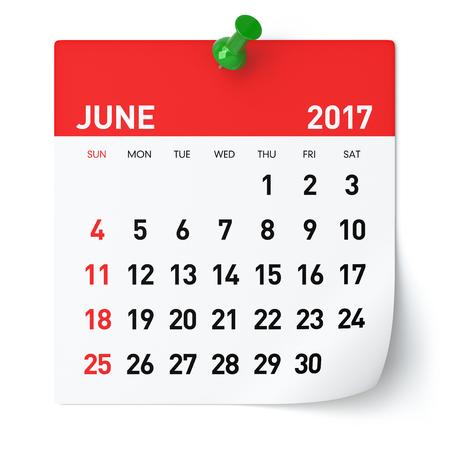 Juni 2017 - Kalender. Geïsoleerd op een witte achtergrond. 3D illustratie Stockfoto