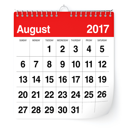 august: August 2017 - Calendar. Isolated on White Background. 3D Illustration