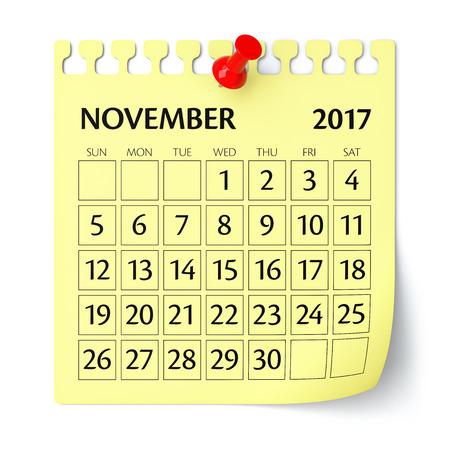 thumbtack: November 2017 - Calendar. Isolated on White Background. 3D Illustration