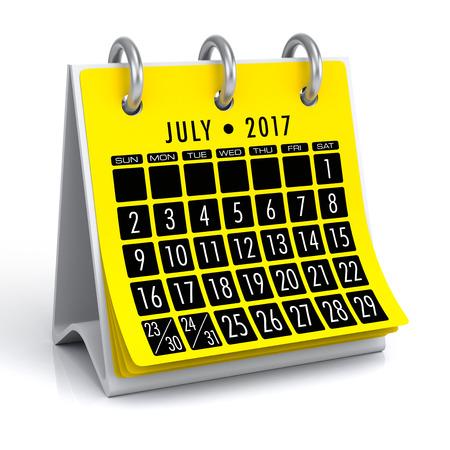 July 2017 Calendar. Isolated on White Background. 3D Illustration Stock Photo