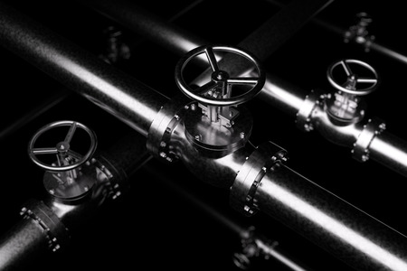 Abstract creative plumbing or gas pipeline industrial concept: steel pipes series with  black valves and selective focus effect, focuse on valve, shallow depth of field, industrial 3D illustration Stock Photo