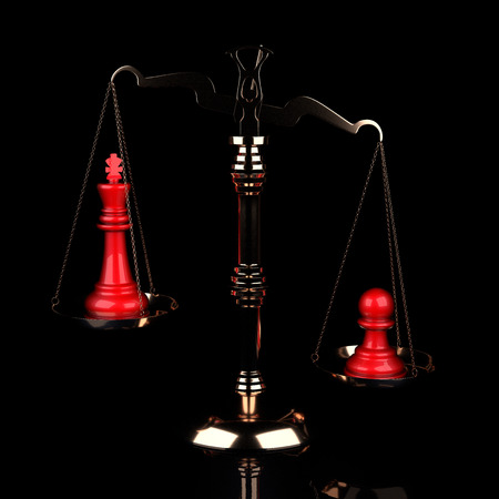 Value of Chessmen Scale Red King Vs Pawn on Black Background. 3d illustration