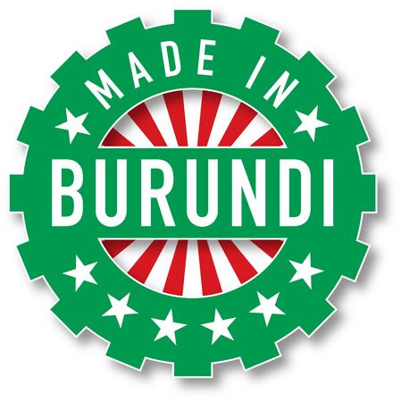 Made in Burundi flag color stamp. Vector illustration