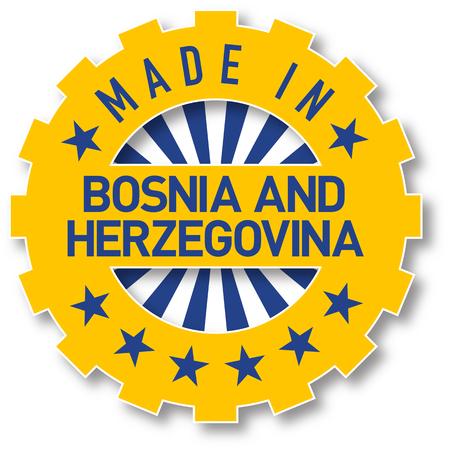 Made in Bosnia and Herzegovina flag color stamp. Vector illustration