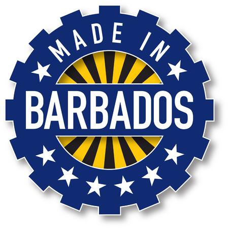 Made in Barbados flag color stamp. Vector illustration