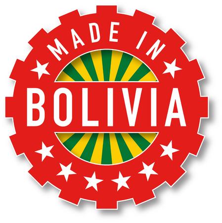 Hecho en sello de color de la bandera de Bolivia. Ilustración vectorial Vectores