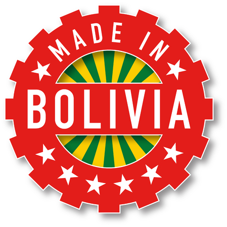 bandera de bolivia: Made in Bolivia flag color stamp. Vector illustration Vectores