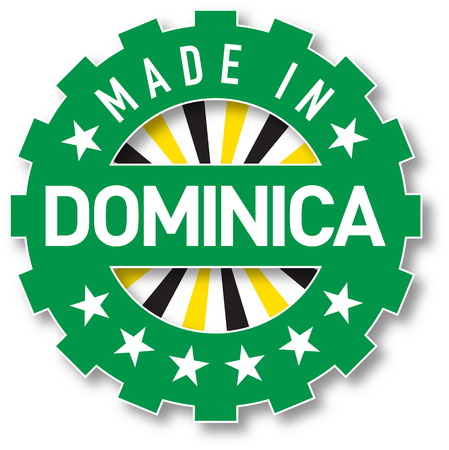 Made in Dominica flag color stamp. Vector illustration