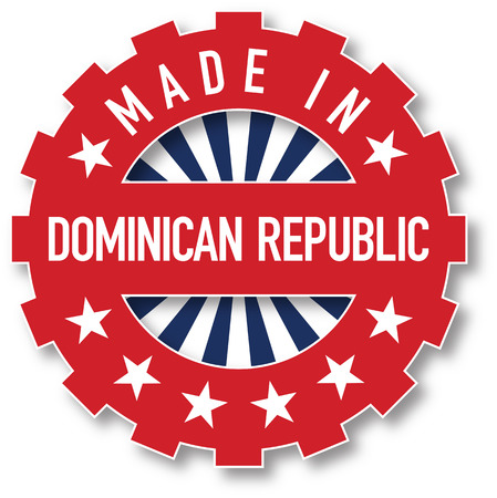 dominican republic: Made in Dominican Republic flag color stamp. Vector illustration