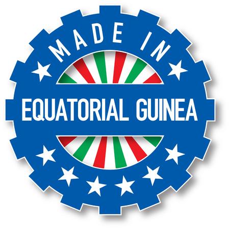 Made in Equatorial Guinea flag color stamp. Vector illustration