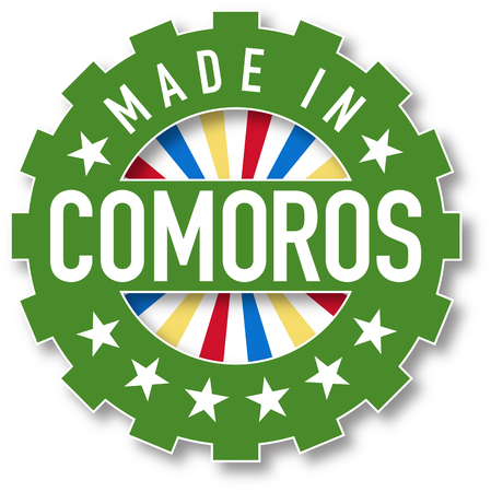Made in Comoros flag color stamp. Vector illustration