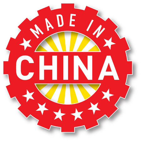 Made in China flag color stamp. Vector illustration Illustration