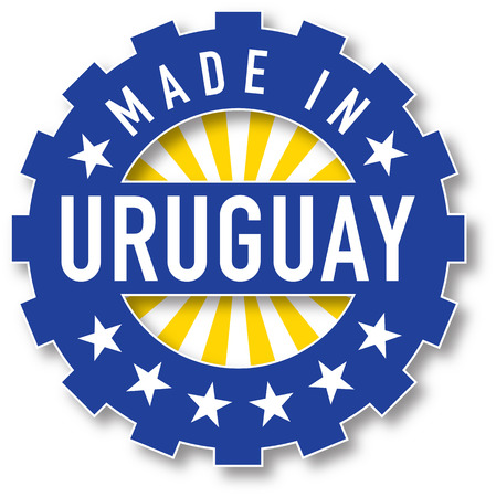 bandera uruguay: Hecho en Uruguay sello color de la bandera. ilustración vectorial