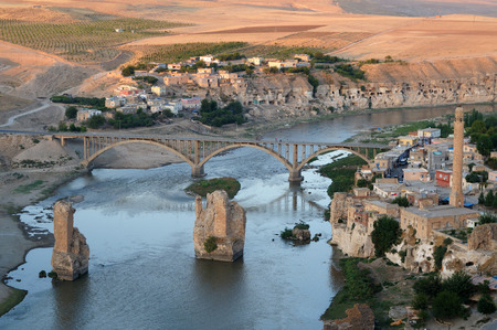 Historical city Hasankeyf view. In danger to be under water in the near future. Фото со стока