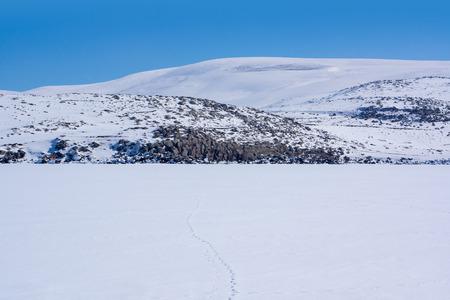 ice floe: Frozen Lake with rocks in the winter. Kars - Turkey