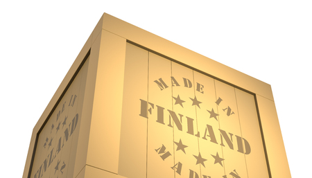 made in finland: Import - Export Wooden Crate. Made in Finland. 3D Illustration Stock Photo