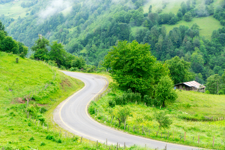 plateau: Foggy Plateau Highland with Giresun - Turkey