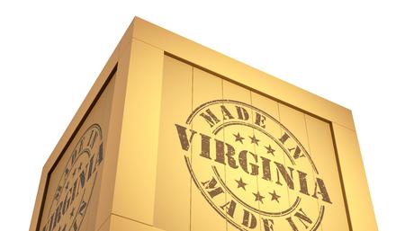 3d virginia: Import - Export Wooden Crate. Made in Virginia. 3D Illustration