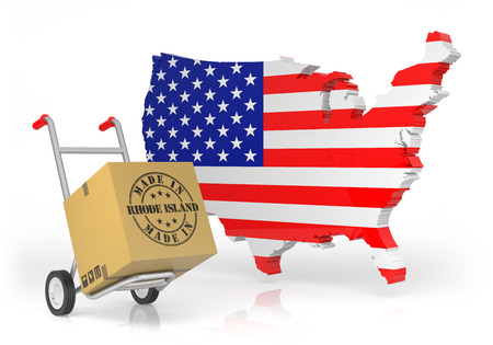 Made in Rhode Island with USA Map. 3D Illustration Stock Photo
