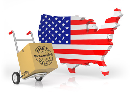 Made in Massachusetts with USA Map. 3D Illustration