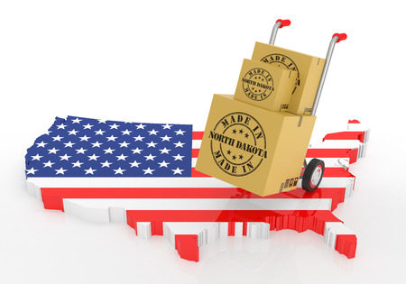 Made in North Dakota with USA Map. 3D Illustration