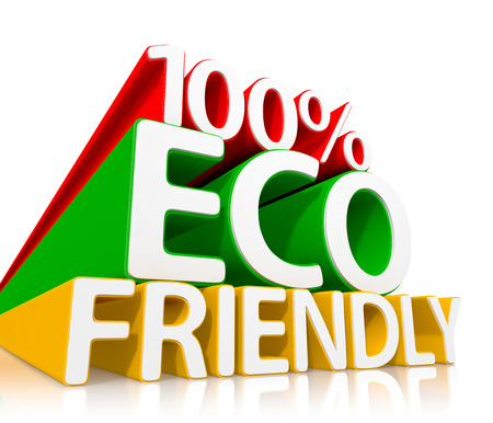 100% Eco Friendly Consept. 3d illustration Stock Photo