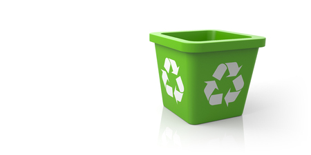 Empty Recycle Bin with Sign Recycling. 3d Illustration