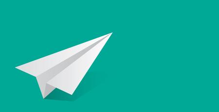 Vector illustratie van papieren vliegtuig. Groene achtergrond