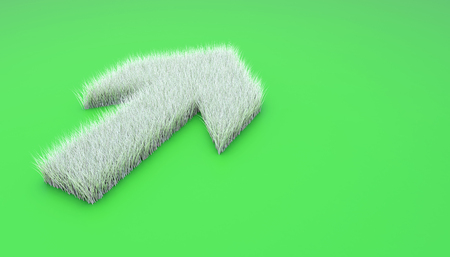 Up arrow symbol from white grass. 3d illustration isolated on green. Stock Photo