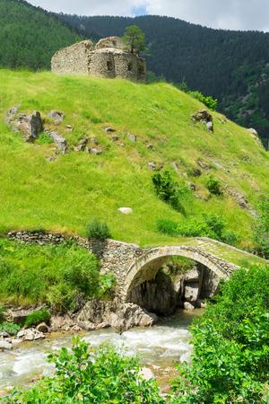 View of a arch bridge with the old greek church. Giresun - Turkey Stock Photo